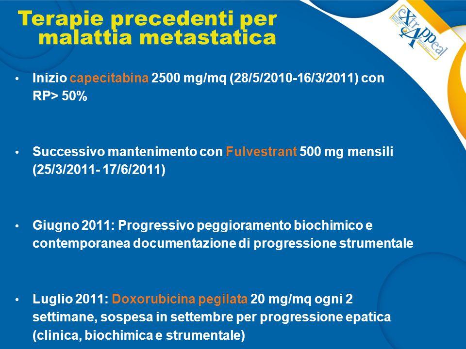 Inizio capecitabina 2500 mg/mq (28/5/2010-16/3/2011) con RP> 50% Successivo mantenimento con Fulvestrant 500 mg mensili (25/3/2011- 17/6/2011) Giugno