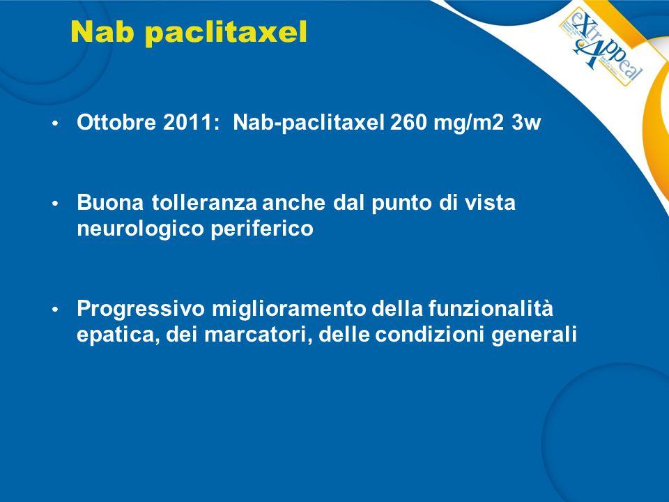 Nab paclitaxel Ottobre 2011: Nab-paclitaxel 260 mg/m2 3w Buona tolleranza anche dal punto di vista neurologico periferico Progressivo miglioramento de