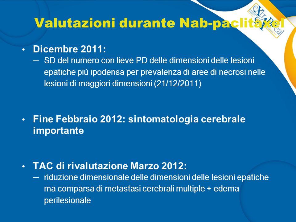 Valutazioni durante Nab-paclitaxel Dicembre 2011: ─ SD del numero con lieve PD delle dimensioni delle lesioni epatiche più ipodensa per prevalenza di