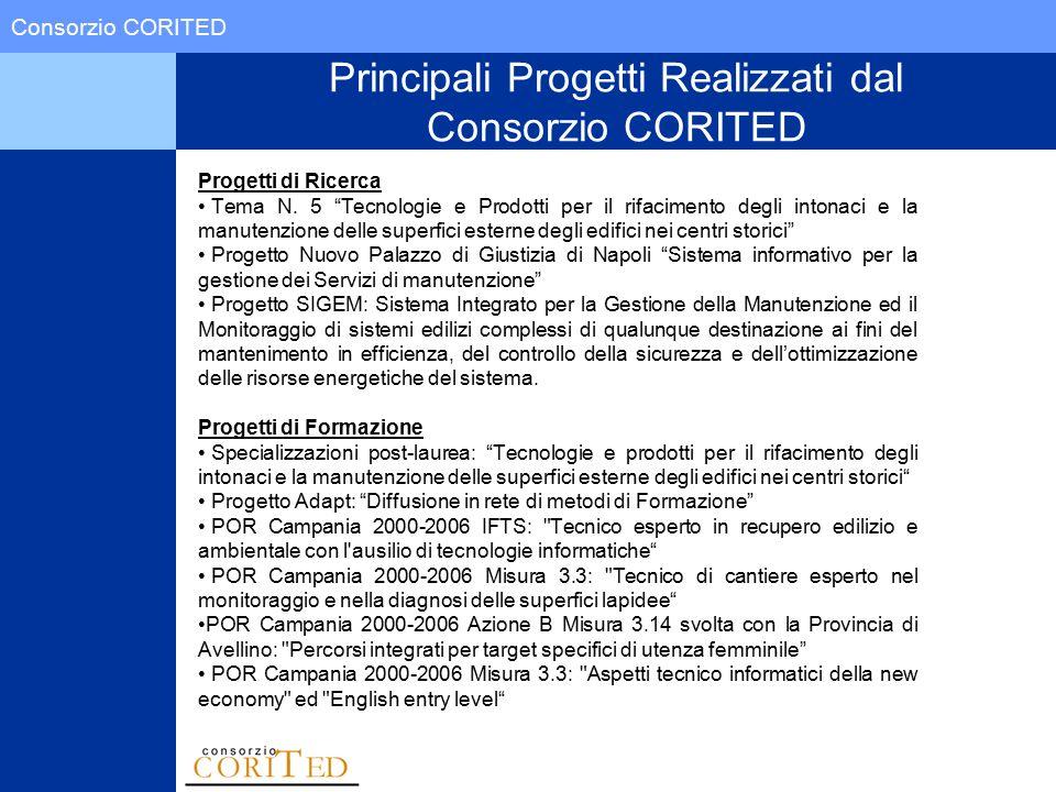 """Consorzio CORITED Principali Progetti Realizzati dal Consorzio CORITED Progetti di Ricerca Tema N. 5 """"Tecnologie e Prodotti per il rifacimento degli i"""