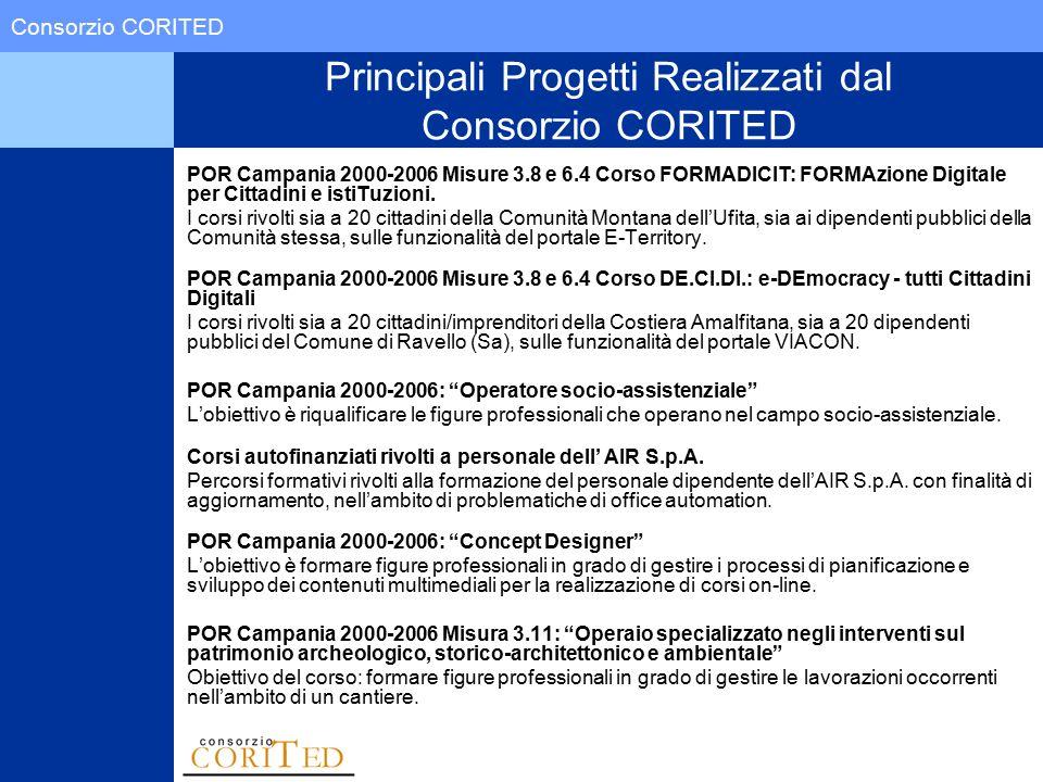 Consorzio CORITED Principali Progetti Realizzati dal Consorzio CORITED POR Campania 2000-2006 Misure 3.8 e 6.4 Corso FORMADICIT: FORMAzione Digitale per Cittadini e istiTuzioni.