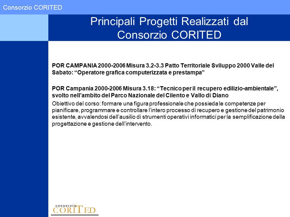 Consorzio CORITED Principali Progetti Realizzati dal Consorzio CORITED POR CAMPANIA 2000-2006 Misura 3.2-3.3 Patto Territoriale Sviluppo 2000 Valle de
