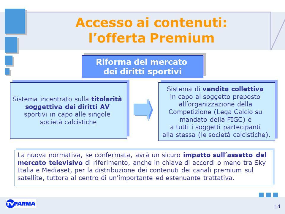 14 Accesso ai contenuti: l'offerta Premium Sistema incentrato sulla titolarità soggettiva dei diritti AV sportivi in capo alle singole società calcist