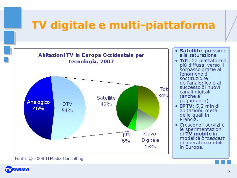 3 TV digitale e multi-piattaforma Satellite: prossimo alla saturazione Tdt: 2a piattaforma più diffusa, verso il sorpasso grazie al fenomeno di sostit