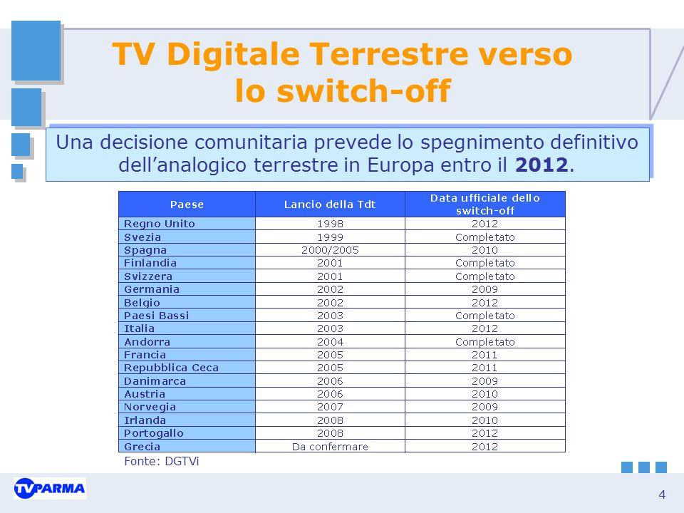4 TV Digitale Terrestre verso lo switch-off Fonte: DGTVi Una decisione comunitaria prevede lo spegnimento definitivo dell'analogico terrestre in Europ