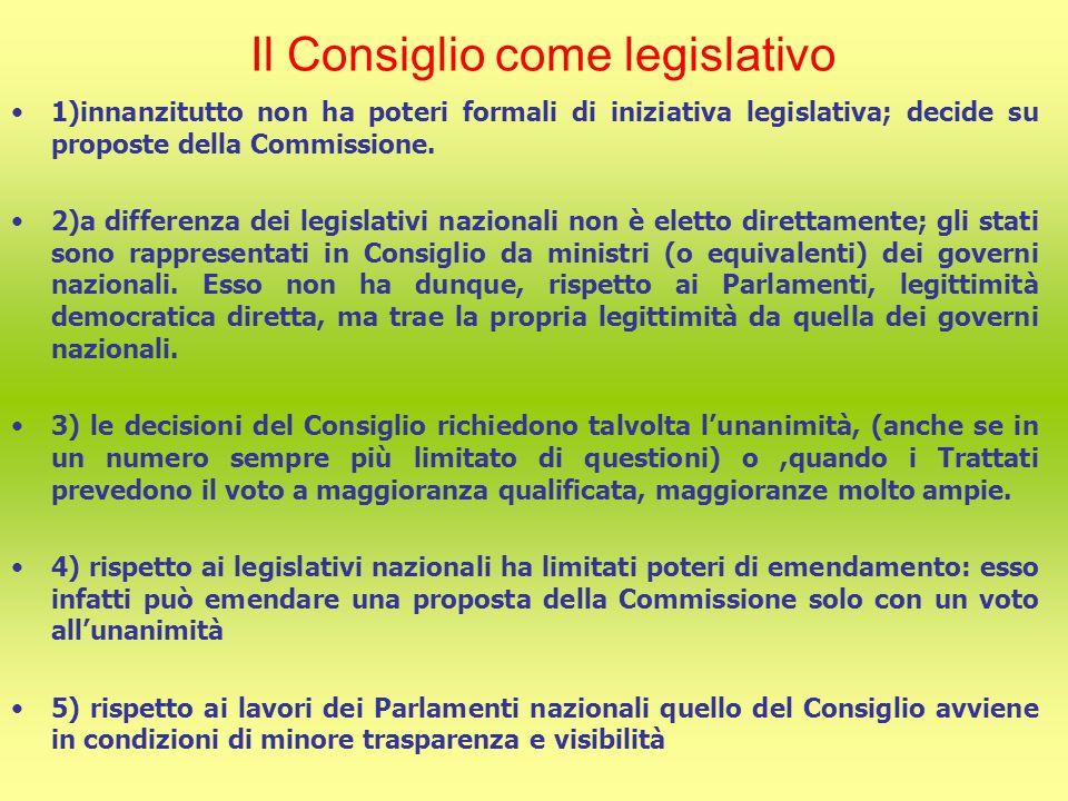 Il Consiglio come legislativo 1)innanzitutto non ha poteri formali di iniziativa legislativa; decide su proposte della Commissione.