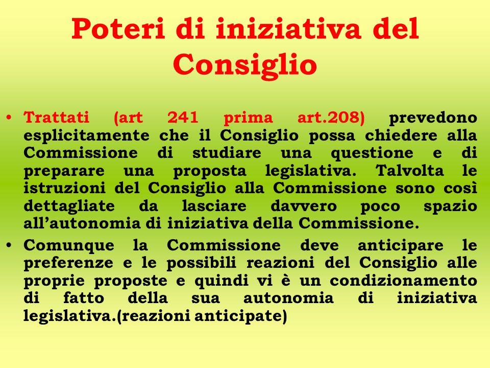 Poteri di iniziativa del Consiglio Trattati (art 241 prima art.208) prevedono esplicitamente che il Consiglio possa chiedere alla Commissione di studiare una questione e di preparare una proposta legislativa.
