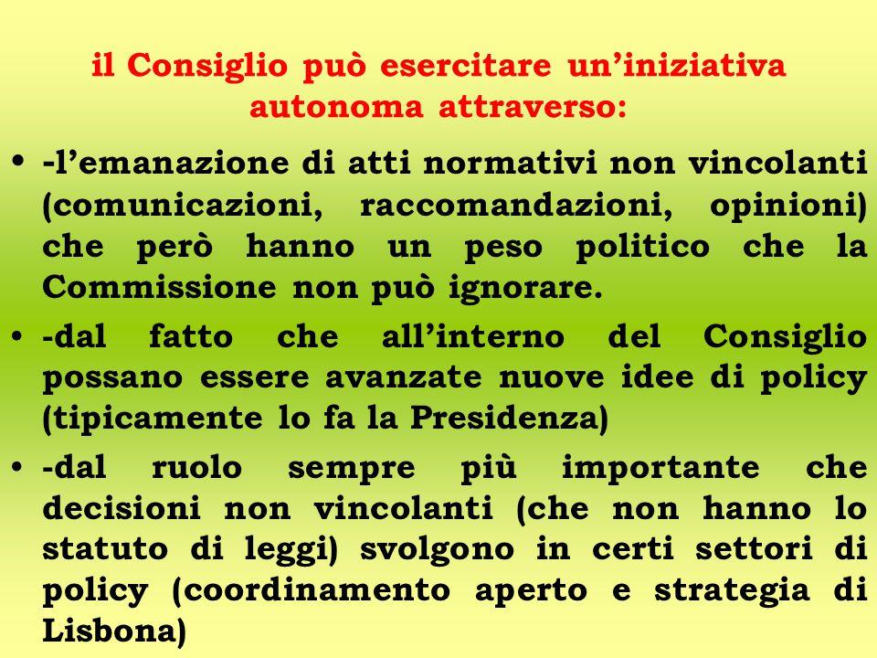 il Consiglio può esercitare un'iniziativa autonoma attraverso: - l'emanazione di atti normativi non vincolanti (comunicazioni, raccomandazioni, opinioni) che però hanno un peso politico che la Commissione non può ignorare.