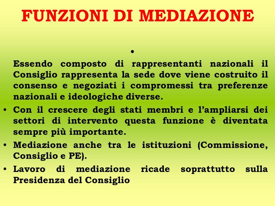 FUNZIONI DI MEDIAZIONE Essendo composto di rappresentanti nazionali il Consiglio rappresenta la sede dove viene costruito il consenso e negoziati i compromessi tra preferenze nazionali e ideologiche diverse.