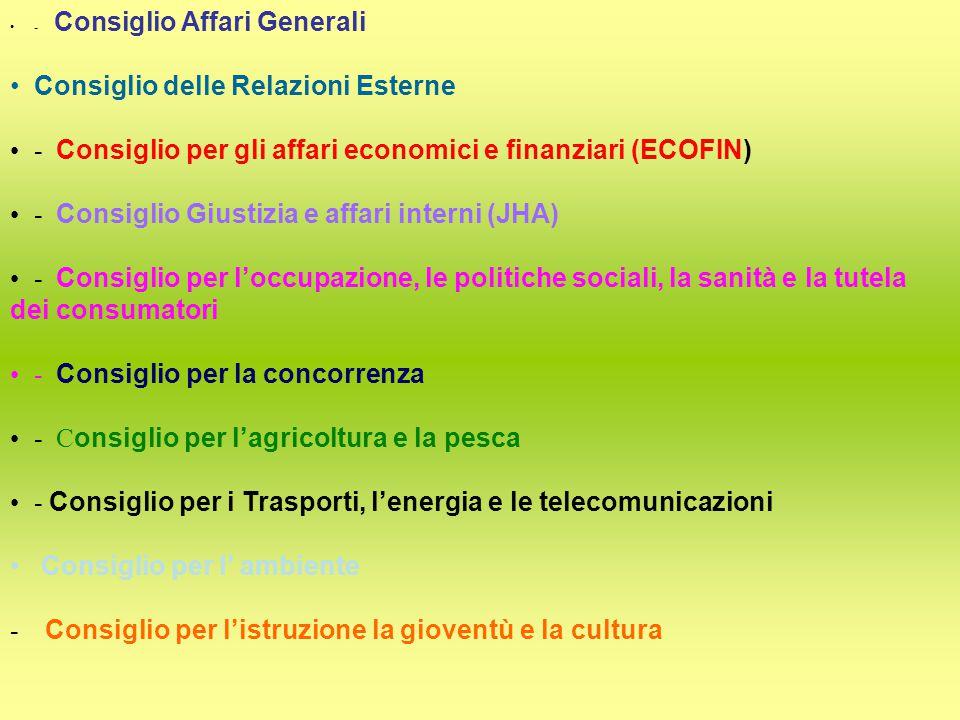 - Consiglio Affari Generali Consiglio delle Relazioni Esterne - Consiglio per gli affari economici e finanziari (ECOFIN) - Consiglio Giustizia e affari interni (JHA) - Consiglio per l'occupazione, le politiche sociali, la sanità e la tutela dei consumatori - Consiglio per la concorrenza - C onsiglio per l'agricoltura e la pesca - Consiglio per i Trasporti, l'energia e le telecomunicazioni Consiglio per l' ambiente - Consiglio per l'istruzione la gioventù e la cultura