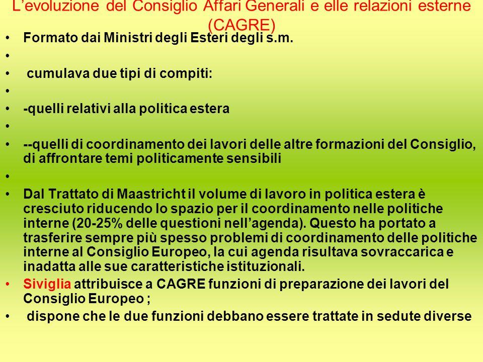L'evoluzione del Consiglio Affari Generali e elle relazioni esterne (CAGRE) Formato dai Ministri degli Esteri degli s.m.