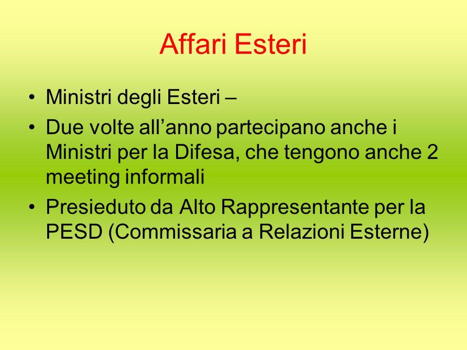 Affari Esteri Ministri degli Esteri – Due volte all'anno partecipano anche i Ministri per la Difesa, che tengono anche 2 meeting informali Presieduto da Alto Rappresentante per la PESD (Commissaria a Relazioni Esterne)