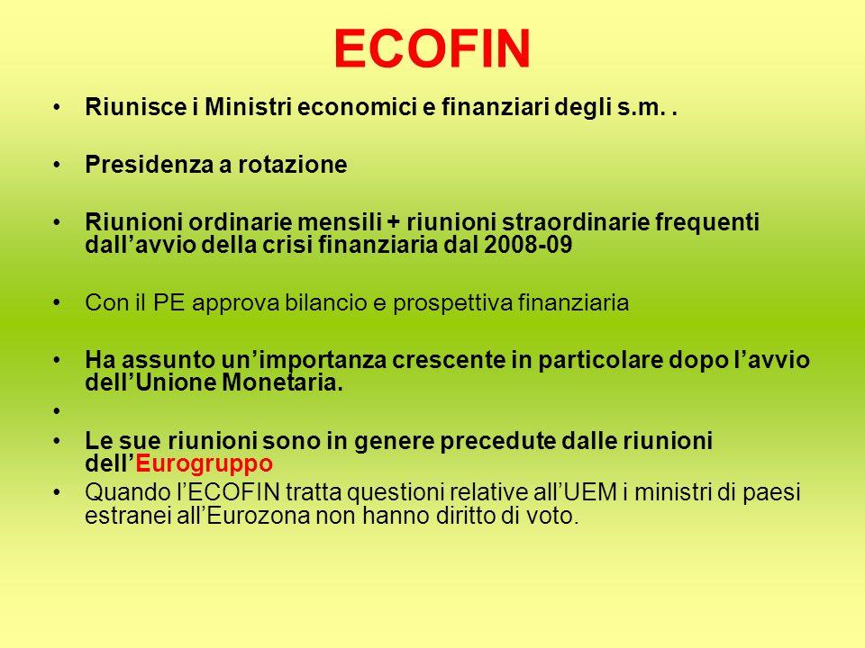 ECOFIN Riunisce i Ministri economici e finanziari degli s.m..