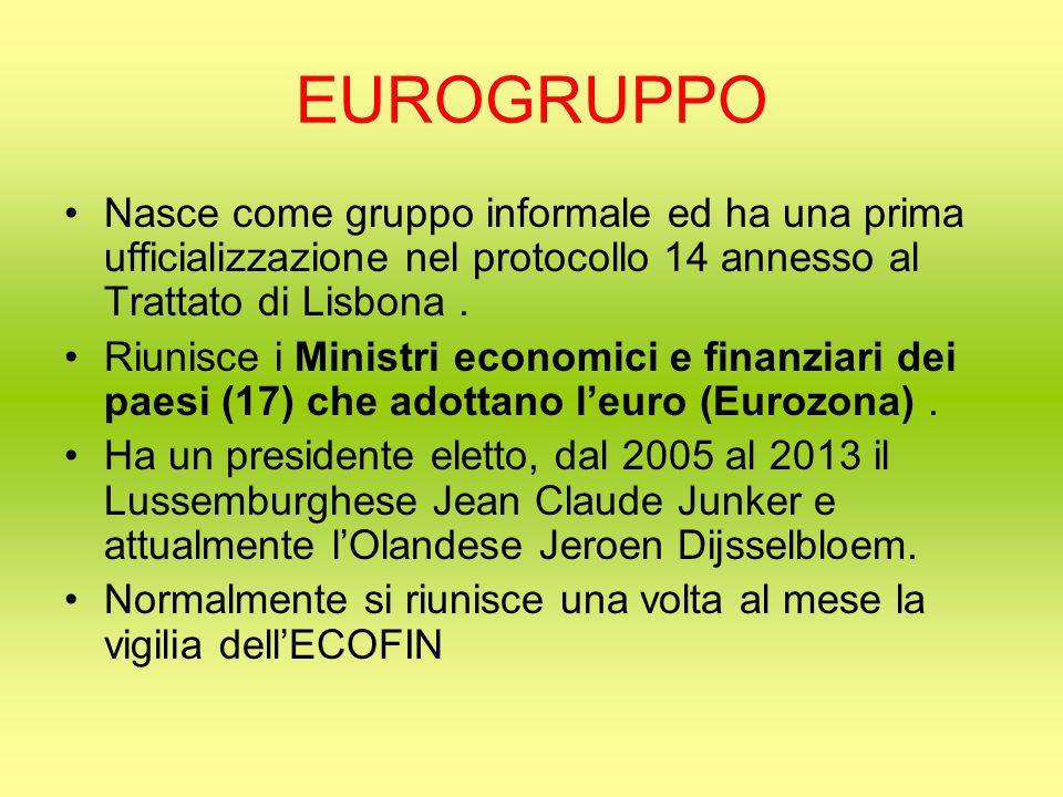 EUROGRUPPO Nasce come gruppo informale ed ha una prima ufficializzazione nel protocollo 14 annesso al Trattato di Lisbona.