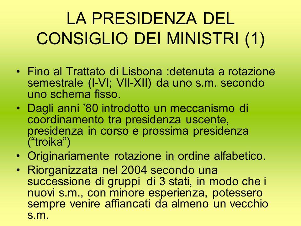 LA PRESIDENZA DEL CONSIGLIO DEI MINISTRI (1) Fino al Trattato di Lisbona :detenuta a rotazione semestrale (I-VI; VII-XII) da uno s.m.