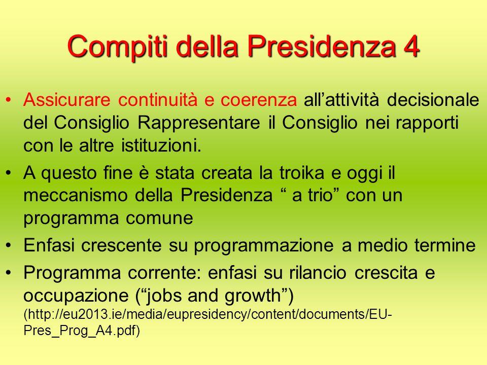 Compiti della Presidenza 4 Assicurare continuità e coerenza all'attività decisionale del Consiglio Rappresentare il Consiglio nei rapporti con le altre istituzioni.