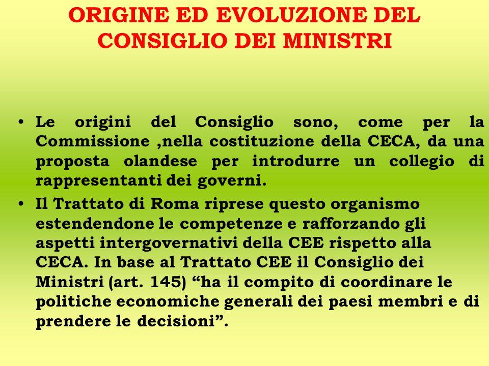 ORIGINE ED EVOLUZIONE DEL CONSIGLIO DEI MINISTRI Le origini del Consiglio sono, come per la Commissione,nella costituzione della CECA, da una proposta olandese per introdurre un collegio di rappresentanti dei governi.