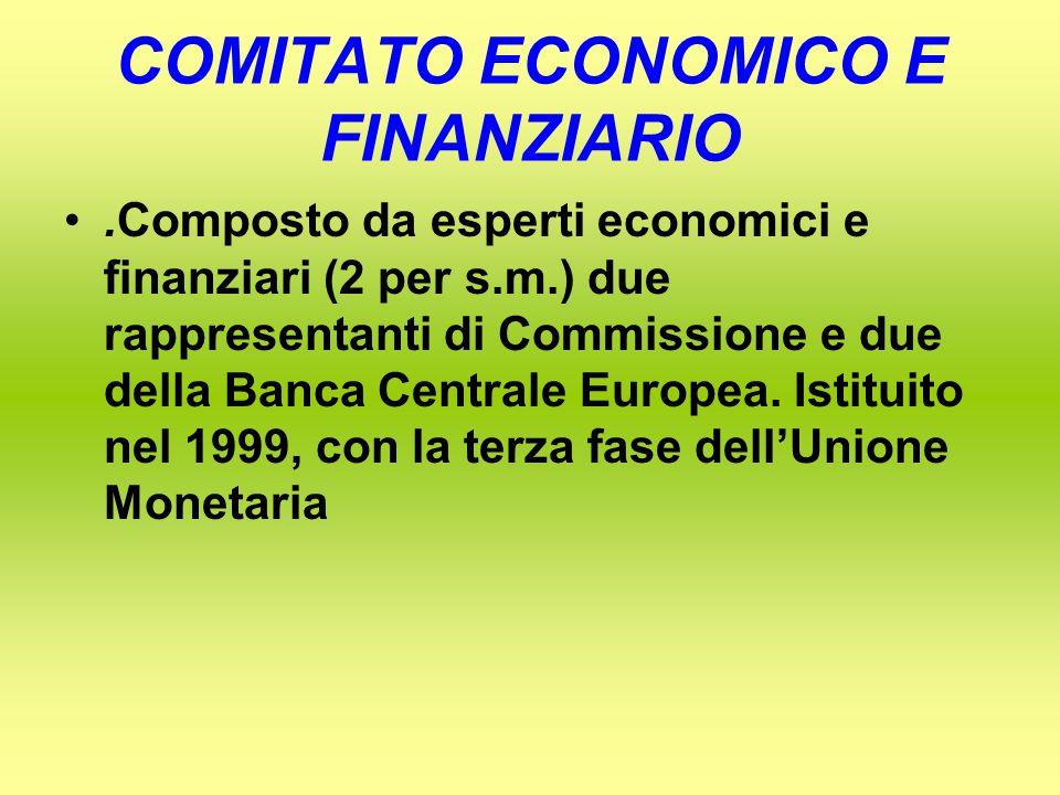 COMITATO ECONOMICO E FINANZIARIO.Composto da esperti economici e finanziari (2 per s.m.) due rappresentanti di Commissione e due della Banca Centrale Europea.