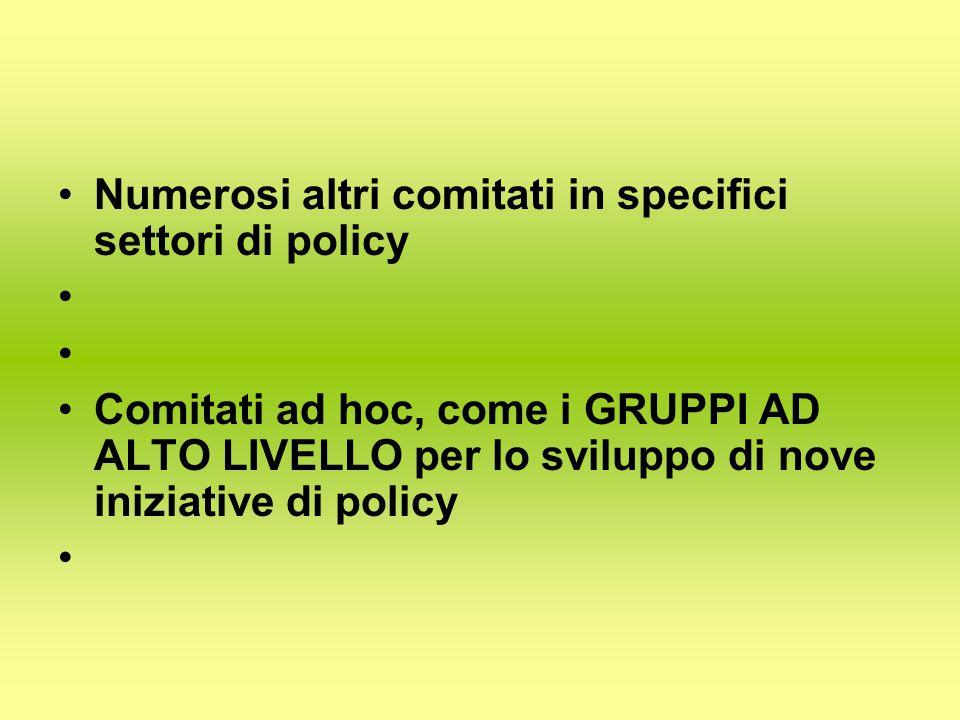 Numerosi altri comitati in specifici settori di policy Comitati ad hoc, come i GRUPPI AD ALTO LIVELLO per lo sviluppo di nove iniziative di policy