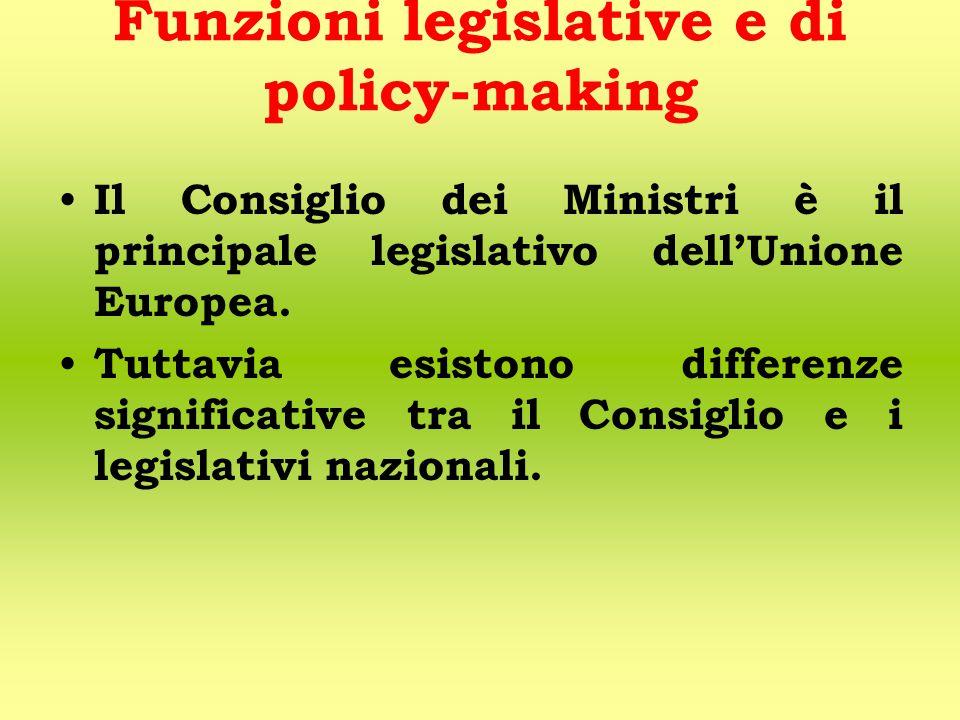 Funzioni legislative e di policy-making Il Consiglio dei Ministri è il principale legislativo dell'Unione Europea.