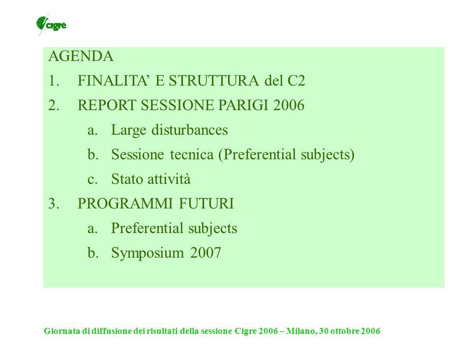 Giornata di diffusione dei risultati della sessione Cigre 2006 – Milano, 30 ottobre 2006 2007 SC Meeting e Symposium: Tallinn 18 – 21 giu 2007