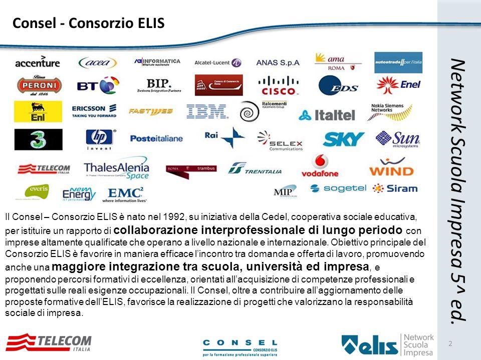Consel - Consorzio ELIS 2 Il Consel – Consorzio ELIS è nato nel 1992, su iniziativa della Cedel, cooperativa sociale educativa, per istituire un rapporto di collaborazione interprofessionale di lungo periodo con imprese altamente qualificate che operano a livello nazionale e internazionale.