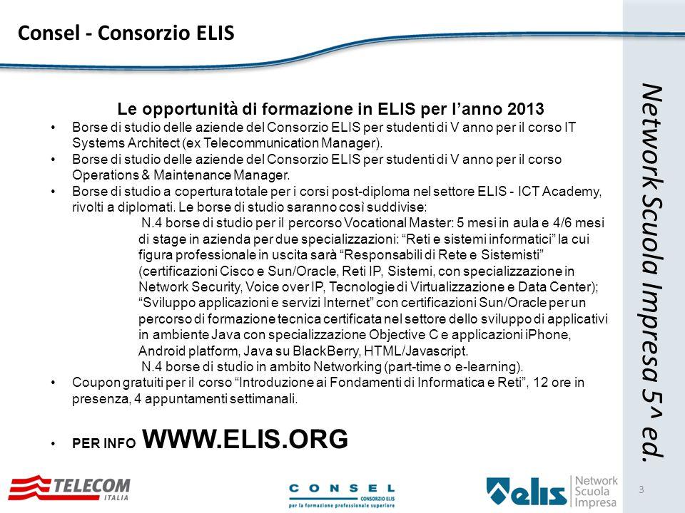 Cosa è il «Network Scuola Impresa» 4 Network Scuola Impresa nasce nel 2008 grazie al CONSEL - Consorzio ELIS con l intento di allineare l offerta formativa alle reali esigenze di lavoro.