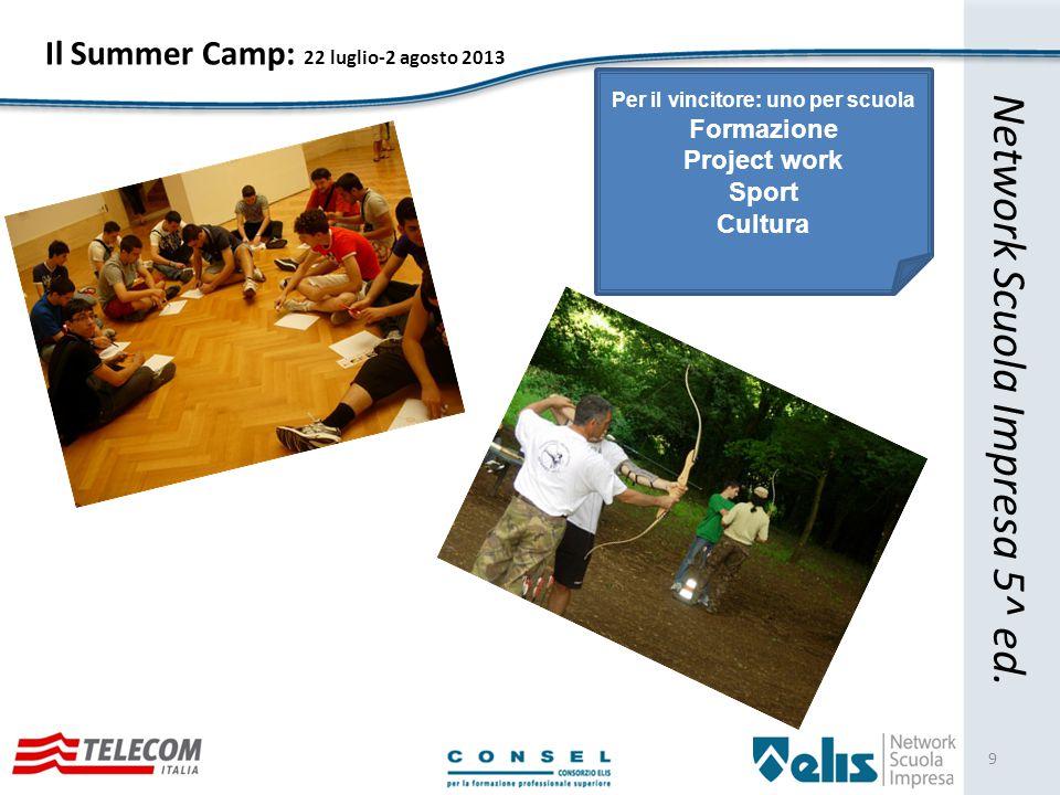 9 Il Summer Camp: 22 luglio-2 agosto 2013 Per il vincitore: uno per scuola Formazione Project work Sport Cultura