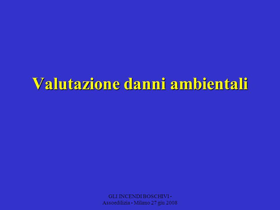 GLI INCENDI BOSCHIVI - Assoedilizia - Milano 27 giu 2008 Valutazione danni ambientali