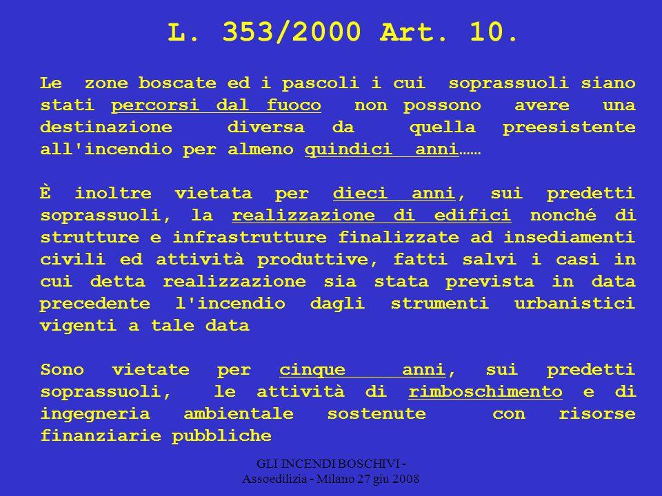 GLI INCENDI BOSCHIVI - Assoedilizia - Milano 27 giu 2008 L.