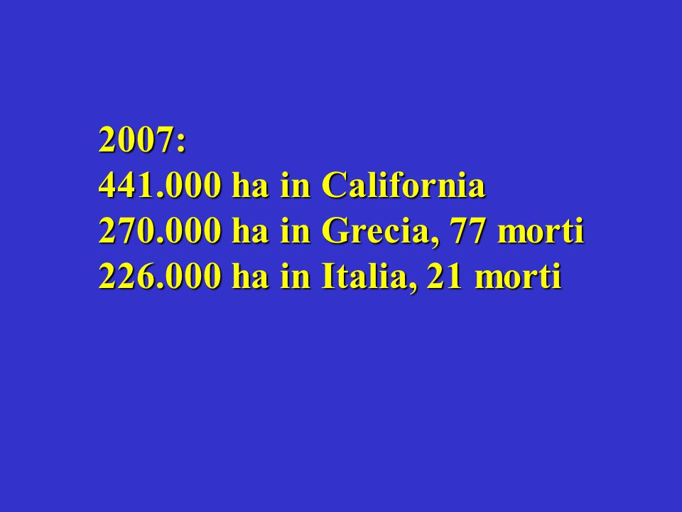 2007: 441.000 ha in California 270.000 ha in Grecia, 77 morti 226.000 ha in Italia, 21 morti