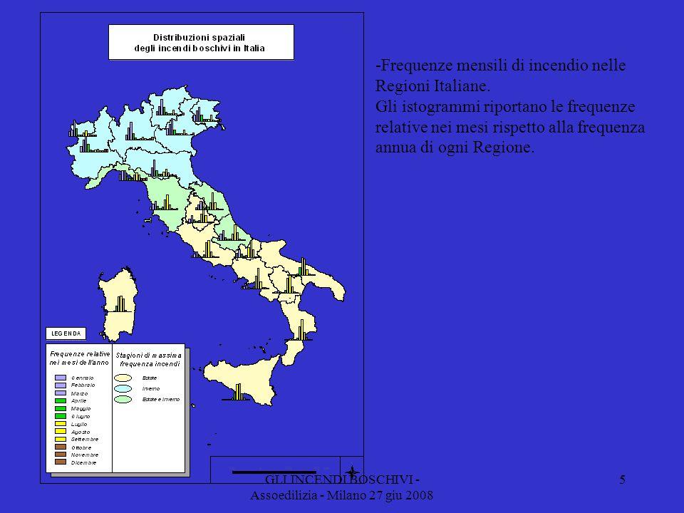 GLI INCENDI BOSCHIVI - Assoedilizia - Milano 27 giu 2008 -Frequenze mensili di incendio nelle Regioni Italiane.