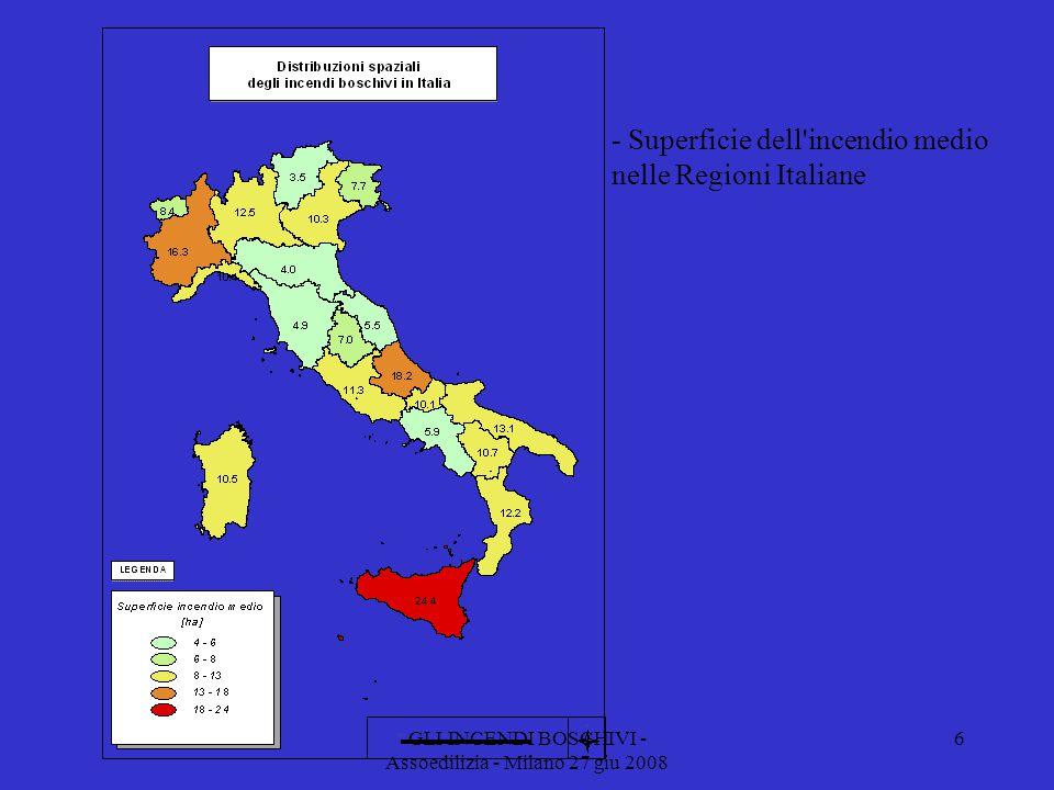 GLI INCENDI BOSCHIVI - Assoedilizia - Milano 27 giu 2008 - Superficie dell incendio medio nelle Regioni Italiane 6