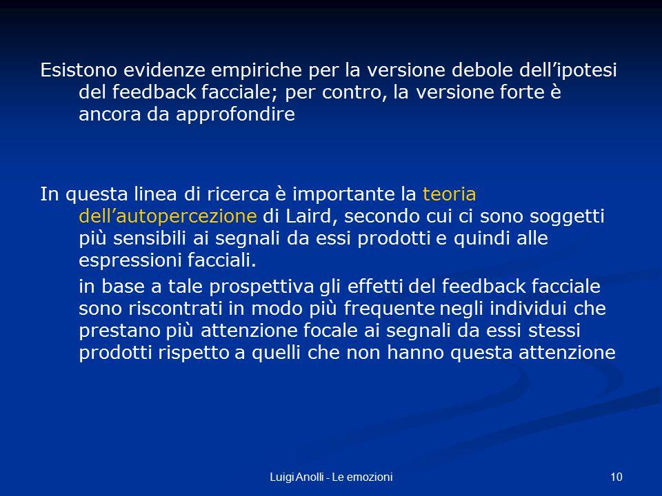 10Luigi Anolli - Le emozioni Esistono evidenze empiriche per la versione debole dell'ipotesi del feedback facciale; per contro, la versione forte è an