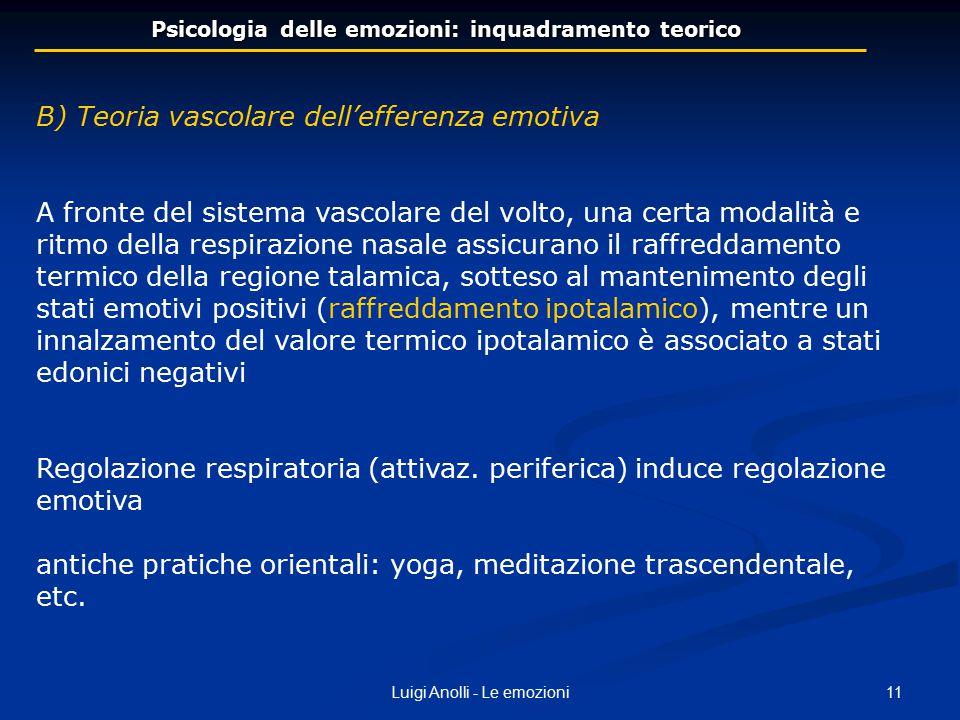 11Luigi Anolli - Le emozioni Psicologia delle emozioni: inquadramento teorico B) Teoria vascolare dell'efferenza emotiva A fronte del sistema vascolar