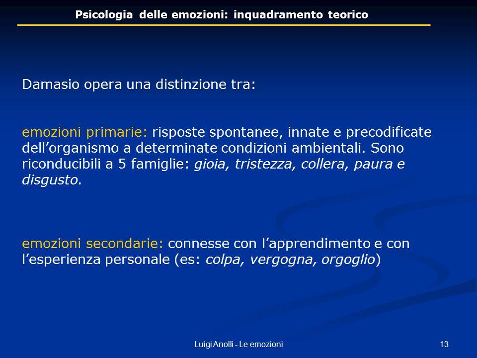 13Luigi Anolli - Le emozioni Psicologia delle emozioni: inquadramento teorico Damasio opera una distinzione tra: emozioni primarie: risposte spontanee