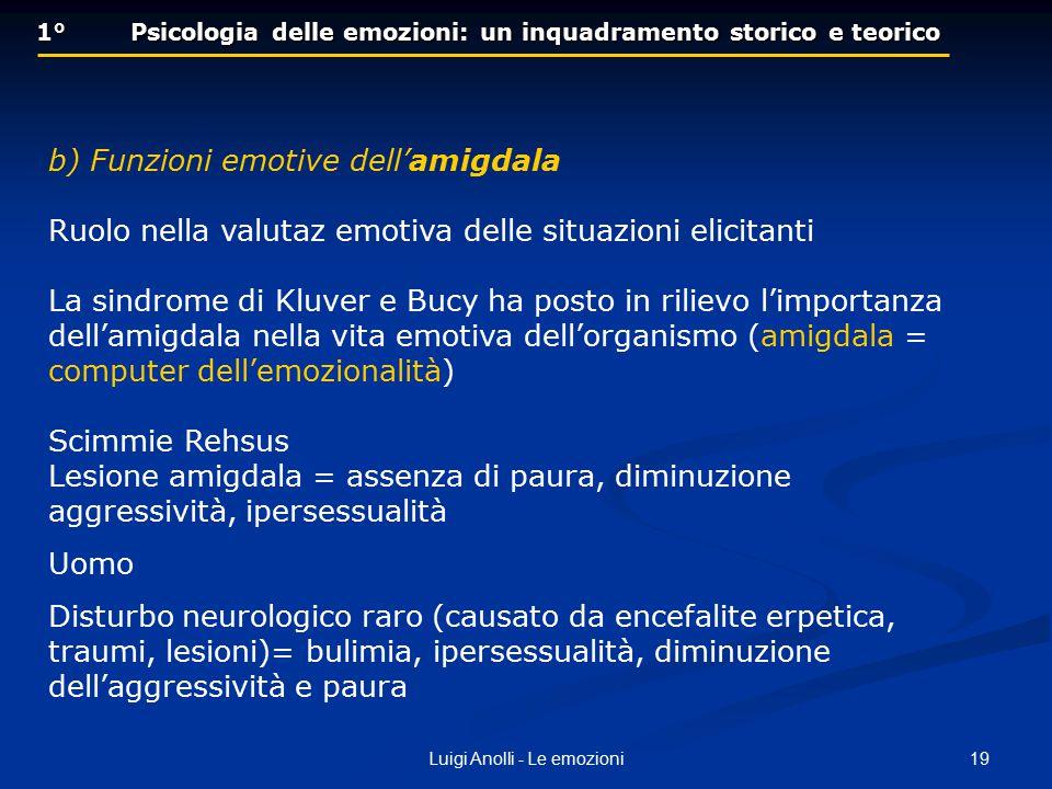 19Luigi Anolli - Le emozioni 1° Psicologia delle emozioni: un inquadramento storico e teorico b) Funzioni emotive dell'amigdala Ruolo nella valutaz em