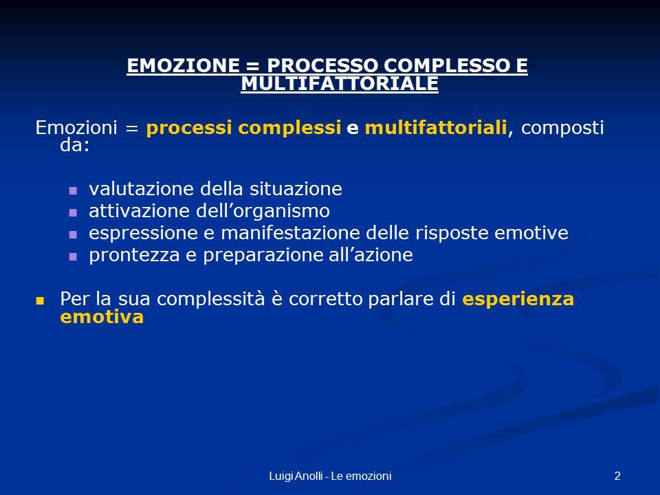 2Luigi Anolli - Le emozioni EMOZIONE = PROCESSO COMPLESSO E MULTIFATTORIALE Emozioni = processi complessi e multifattoriali, composti da: valutazione