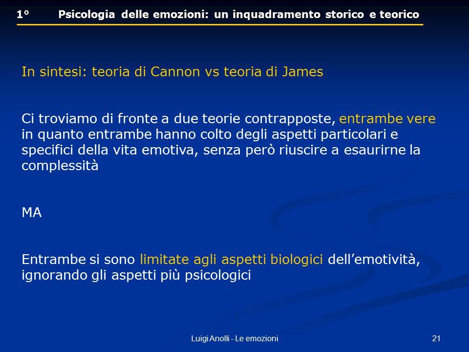 21Luigi Anolli - Le emozioni 1° Psicologia delle emozioni: un inquadramento storico e teorico In sintesi: teoria di Cannon vs teoria di James Ci trovi