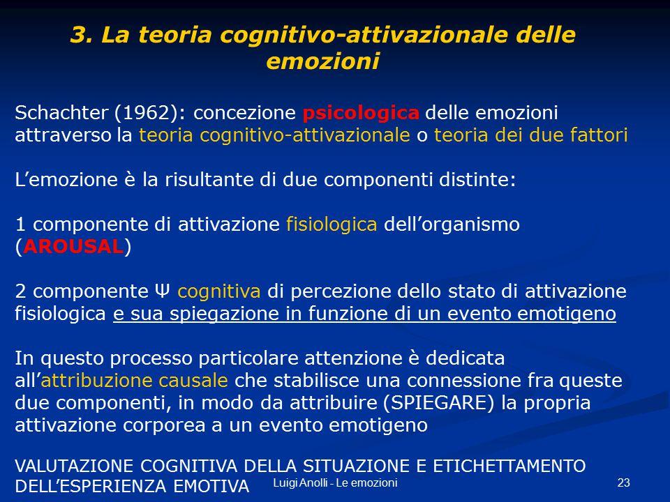 23Luigi Anolli - Le emozioni 3. La teoria cognitivo-attivazionale delle emozioni Schachter (1962): concezione psicologica delle emozioni attraverso la