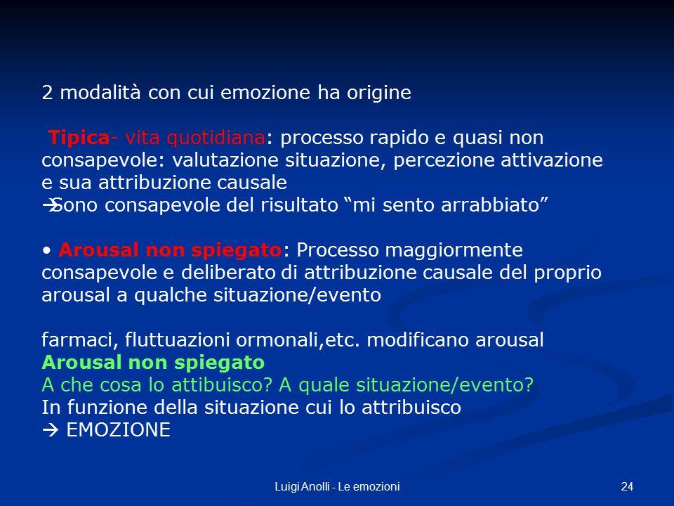 24Luigi Anolli - Le emozioni 2 modalità con cui emozione ha origine Tipica- vita quotidiana: processo rapido e quasi non consapevole: valutazione situ