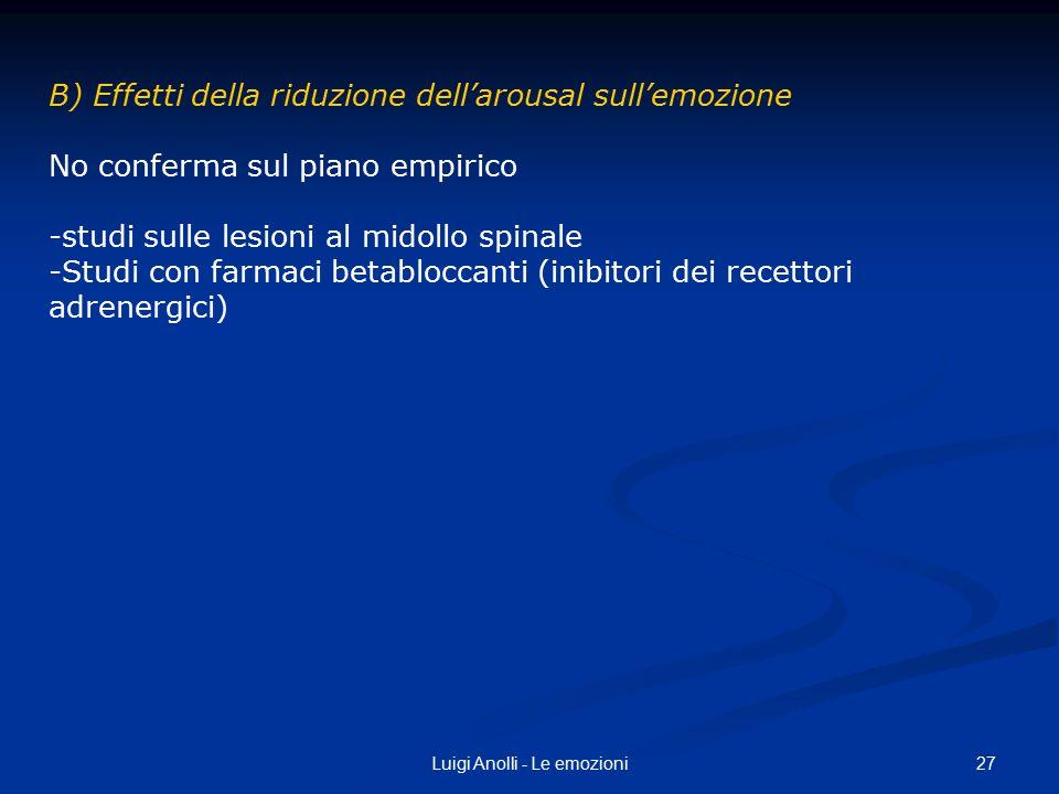 27Luigi Anolli - Le emozioni B) Effetti della riduzione dell'arousal sull'emozione No conferma sul piano empirico -studi sulle lesioni al midollo spin