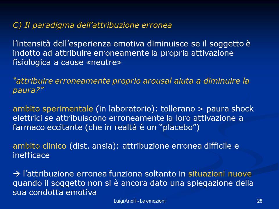 28Luigi Anolli - Le emozioni C) Il paradigma dell'attribuzione erronea l'intensità dell'esperienza emotiva diminuisce se il soggetto è indotto ad attr
