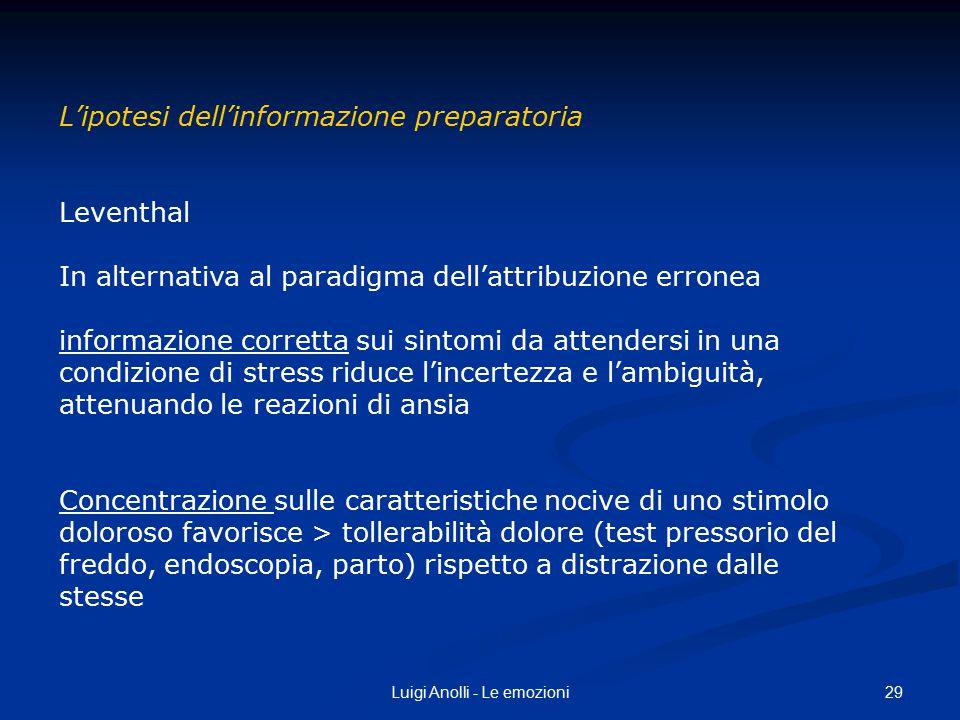 29Luigi Anolli - Le emozioni L'ipotesi dell'informazione preparatoria Leventhal In alternativa al paradigma dell'attribuzione erronea informazione cor