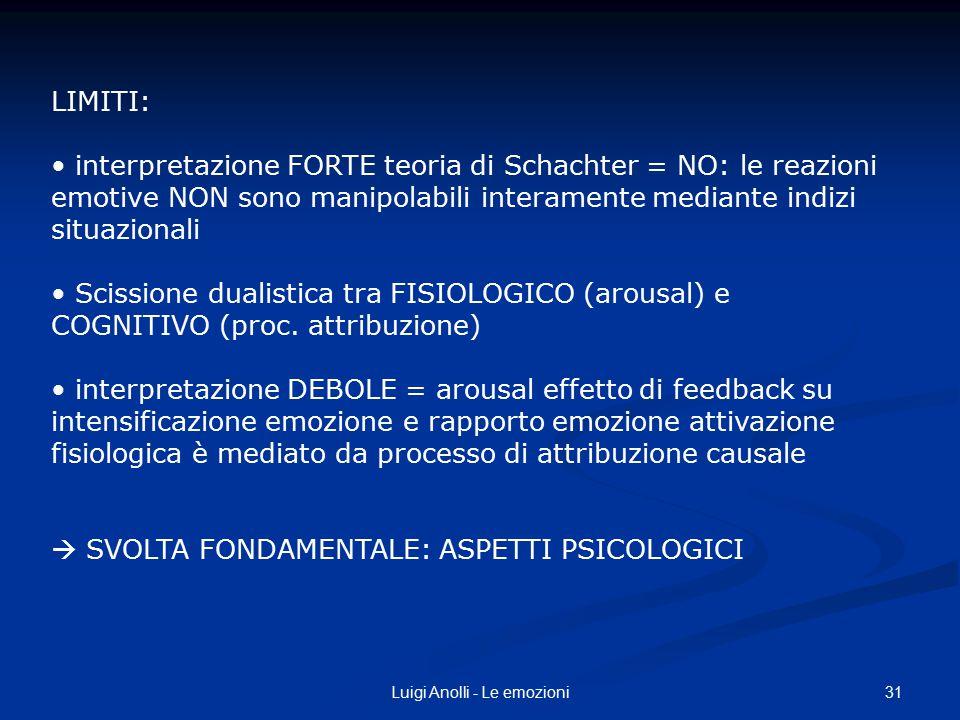 31Luigi Anolli - Le emozioni LIMITI: interpretazione FORTE teoria di Schachter = NO: le reazioni emotive NON sono manipolabili interamente mediante in