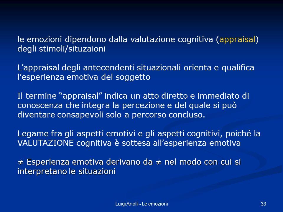 33Luigi Anolli - Le emozioni le emozioni dipendono dalla valutazione cognitiva (appraisal) degli stimoli/situzaioni L'appraisal degli antecendenti sit