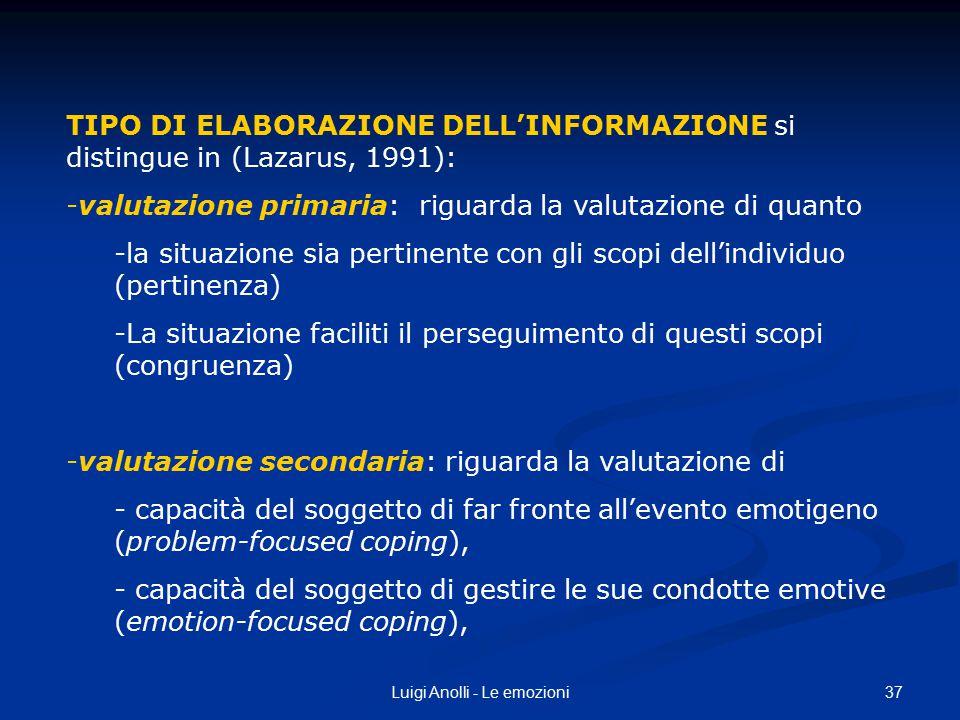 37Luigi Anolli - Le emozioni TIPO DI ELABORAZIONE DELL'INFORMAZIONE si distingue in (Lazarus, 1991): -valutazione primaria: riguarda la valutazione di
