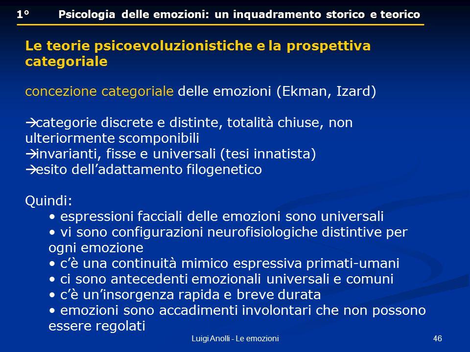 46Luigi Anolli - Le emozioni 1° Psicologia delle emozioni: un inquadramento storico e teorico Le teorie psicoevoluzionistiche e la prospettiva categor