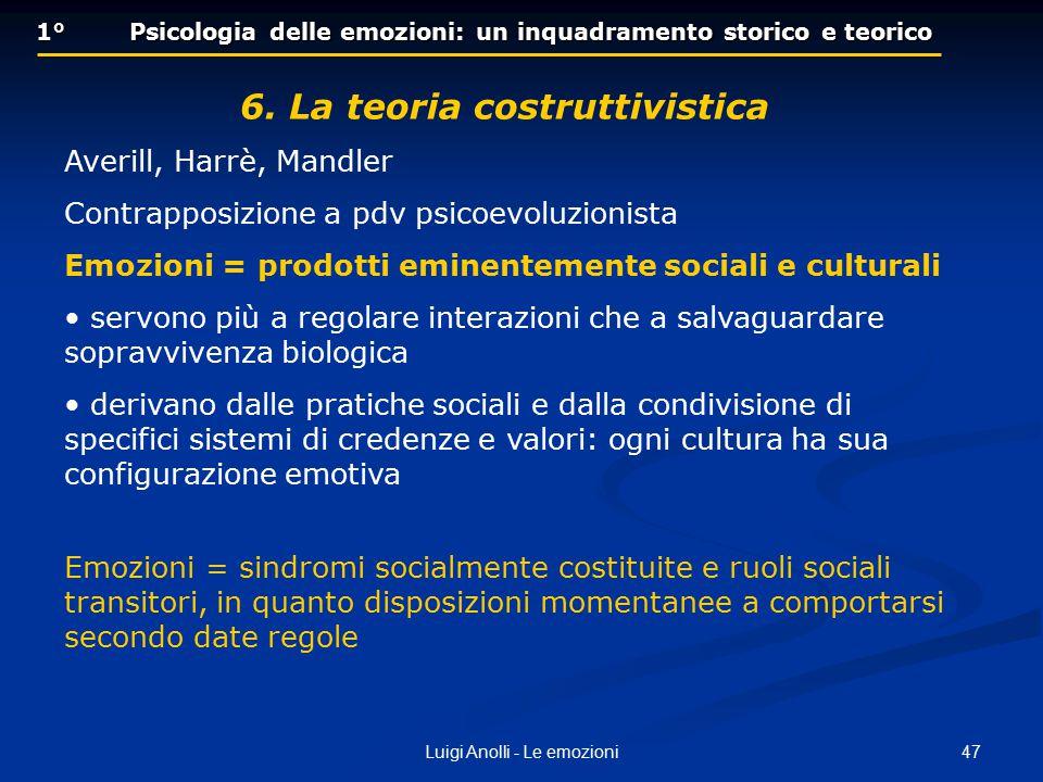 47Luigi Anolli - Le emozioni 1° Psicologia delle emozioni: un inquadramento storico e teorico 6. La teoria costruttivistica Averill, Harrè, Mandler Co