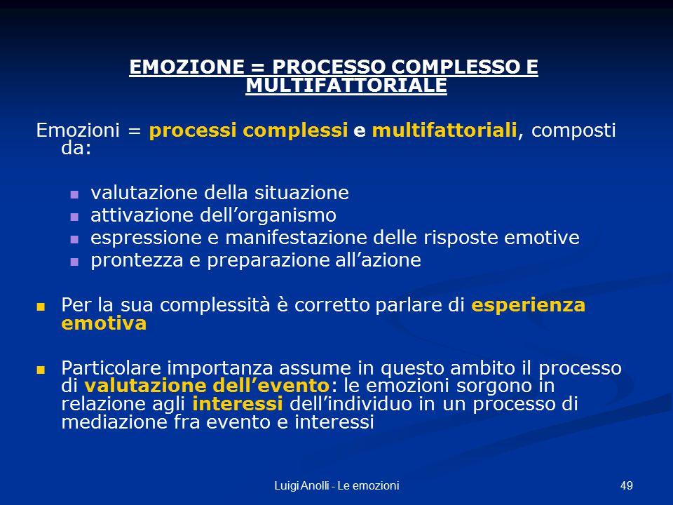 49Luigi Anolli - Le emozioni EMOZIONE = PROCESSO COMPLESSO E MULTIFATTORIALE Emozioni = processi complessi e multifattoriali, composti da: valutazione